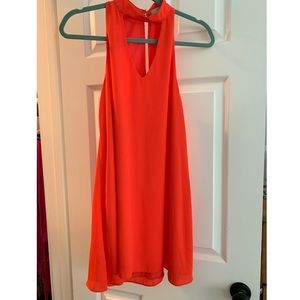 High neck coral cocktail dress with cutout